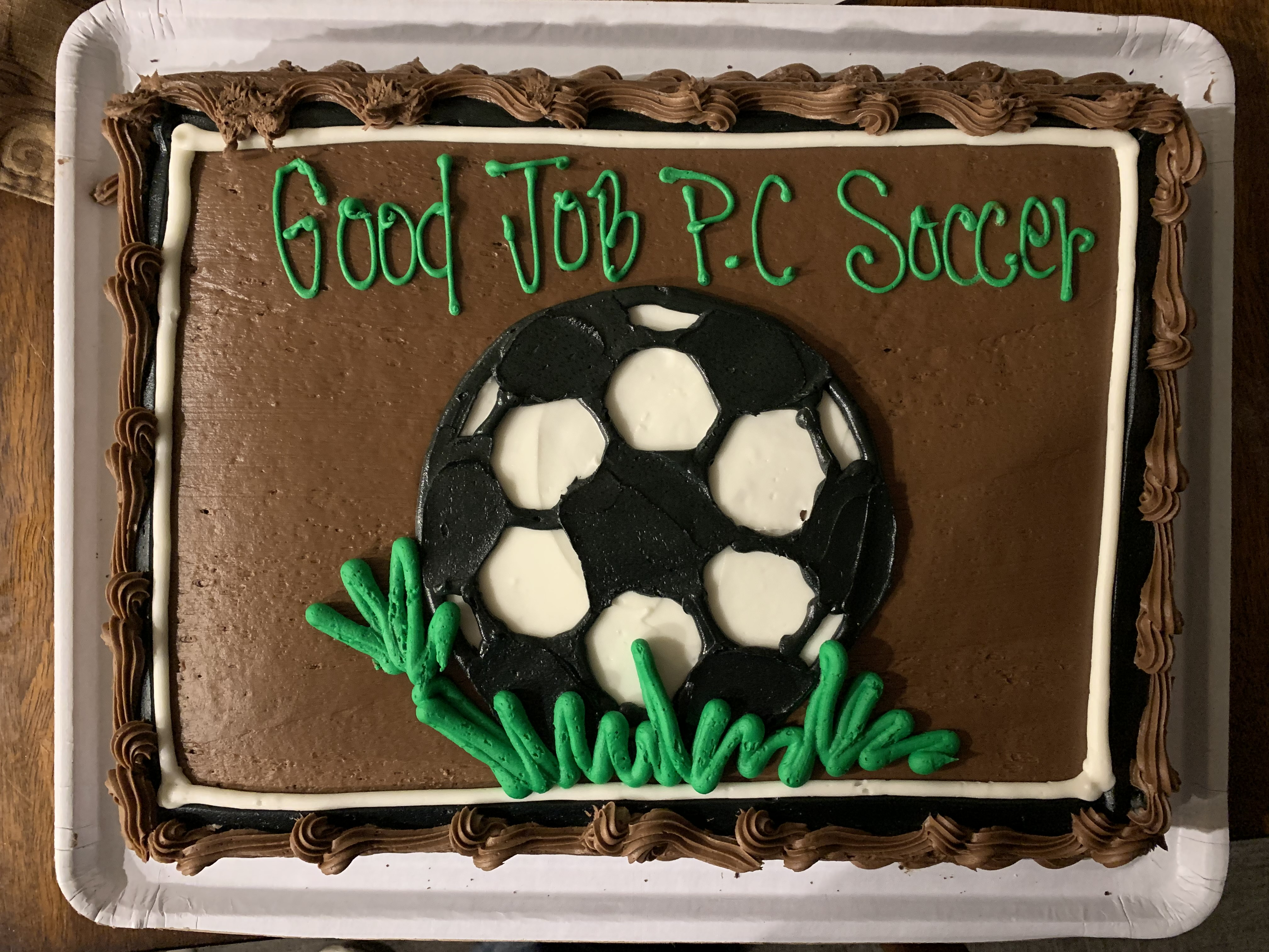 The Victory Cake: 'Good Job P.C. Soccer'